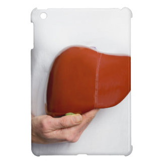Woman holding human liver model at white body iPad mini cover