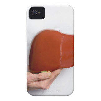 Woman holding human liver model at white body iPhone 4 Case-Mate case