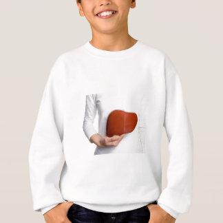 Woman holding human liver model at white body sweatshirt