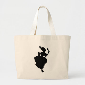 Woman in 18th Century Fashion - looking in mirror Large Tote Bag