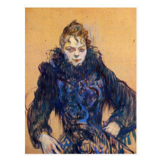 Woman in a black boa by Toulouse-Lautrec Postcard