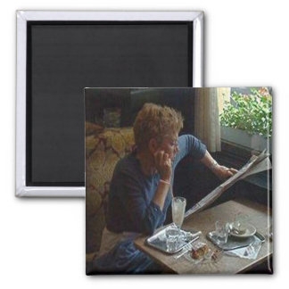 Woman in a Viennese Cafe sq.jpg Square Magnet