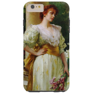 Woman in a White Dress Holding Irises Fine Art Tough iPhone 6 Plus Case