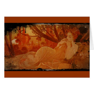 Woman in Autumn Leaves Card
