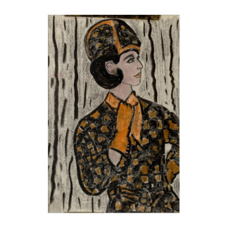 Woman in black and orange acrylic print