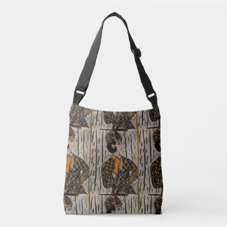 Woman in black and orange crossbody bag