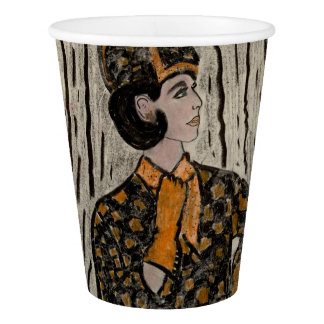 Woman in black and orange paper cup