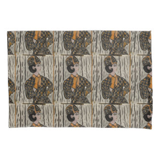 Woman in black and orange pillowcase