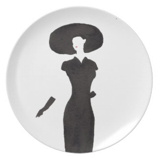 Woman In Black Dinner Plates