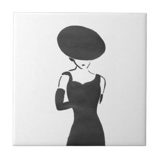 Woman in Black Tile