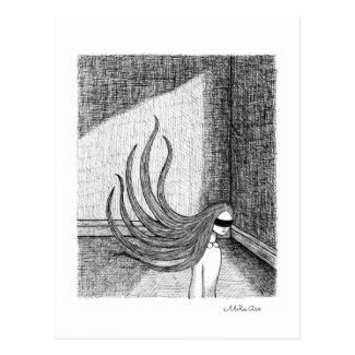 Woman in blindfold Surreal ink drawing Dark Art Postcard