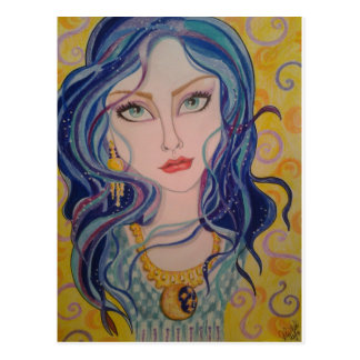 Woman in Blue and Gold Fantasy Art Postcard