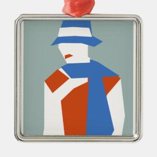 Woman In Blue Hat Silver-Colored Square Ornament