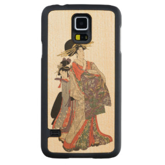 Woman in colorful kimono (Vintage Japanese print) Carved Maple Galaxy S5 Case