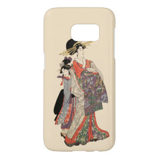 Woman in colorful kimono (Vintage Japanese print) Samsung Galaxy S7 Case