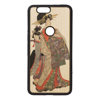Woman in colorful kimono (Vintage Japanese print) Wood Nexus 6P Case