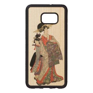 Woman in colorful kimono (Vintage Japanese print) Wood Samsung Galaxy S6 Edge Case