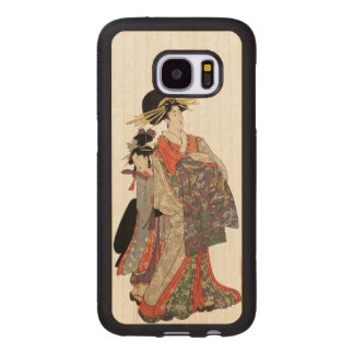 Woman in colorful kimono (Vintage Japanese print) Wood Samsung Galaxy S7 Case