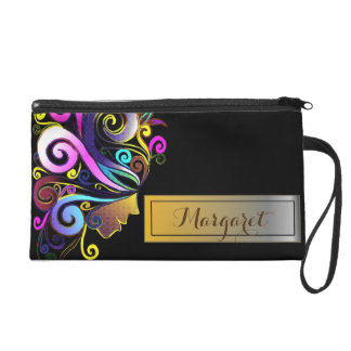 """Woman in colorful Masquerade"" black monogram Wristlet"