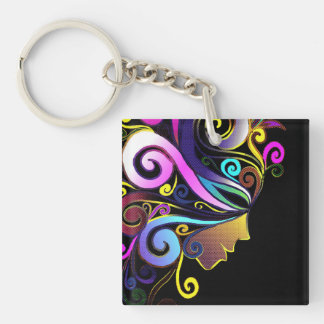 """""""Woman in colorful masquerade"""", face art, Double-Sided Square Acrylic Keychain"""