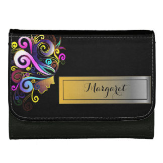 Woman in colorful masquerade, face art, monogram, wallets