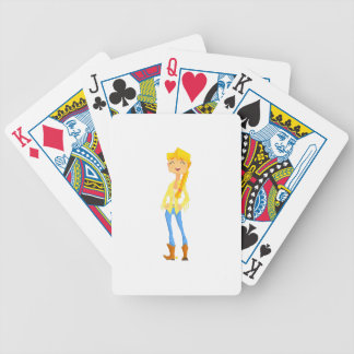 Woman In Cowboy Disguise Stading Smiling With Hand Bicycle Playing Cards