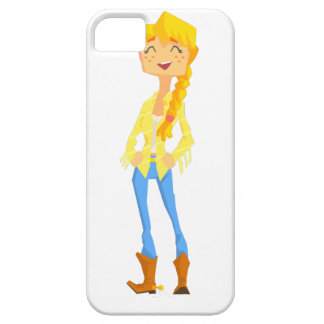 Woman In Cowboy Disguise Stading Smiling With Hand Case For The iPhone 5