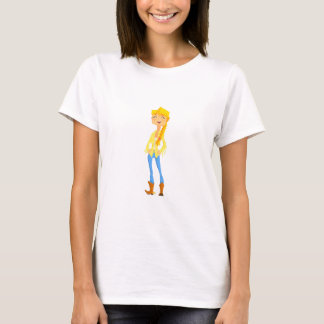 Woman In Cowboy Disguise Stading Smiling With Hand T-Shirt
