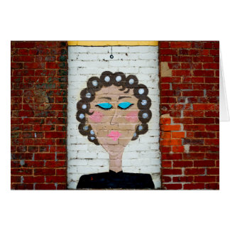 Woman in Curlers Greeting Card