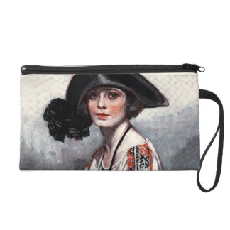 Woman in Embroidered Blouse Wristlet Purse