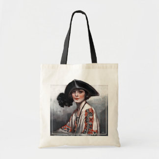 Woman in Embroidered Blouse Budget Tote Bag
