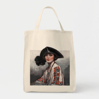 Woman in Embroidered Blouse Grocery Tote Bag