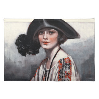 Woman in Embroidered Blouse Place Mats