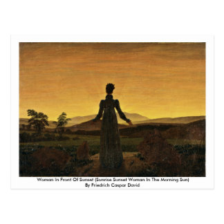 Woman In Front Of Sunset Postcard