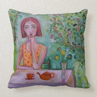 Woman in Garden Throw Pillow