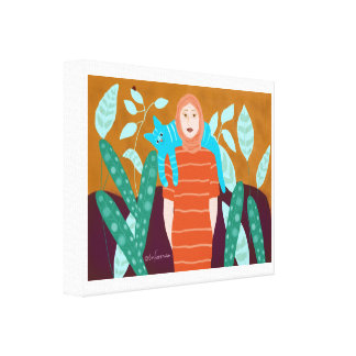 Woman in garden with cat canvas print