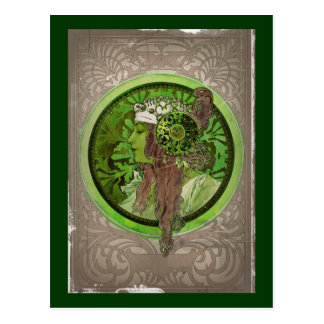 Woman in Green - LAUREL Postcard