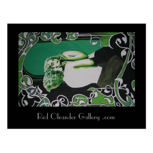 woman in green post card