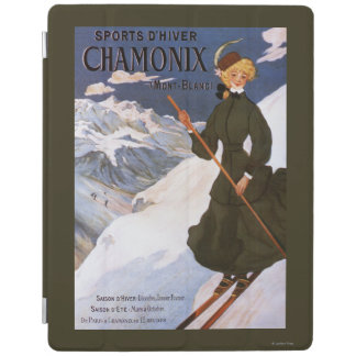 Woman in Green Skiing Poster iPad Cover