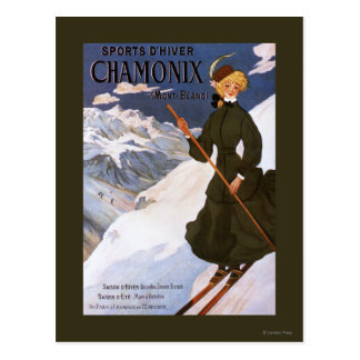 Woman in Green Skiing Poster Postcard