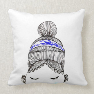 Woman in high bun throw pillow