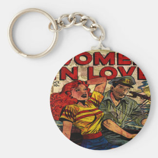 Woman in love basic round button keychain