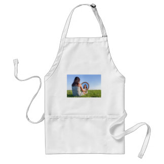 Woman in nature viewing her mirror image standard apron