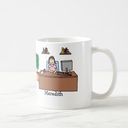 Woman in office coffee mug