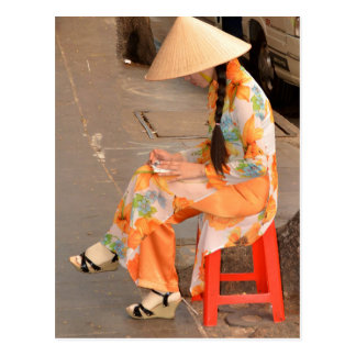Woman in Orange and Conical Hat Postcard