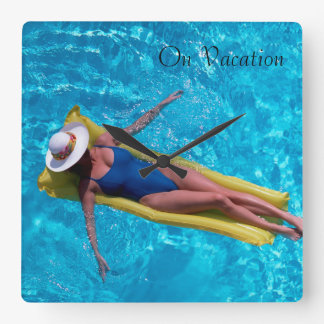 Woman in pool image for Square Wall Clock