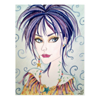 Woman In Purple and Gold Fantasy Art Postcard