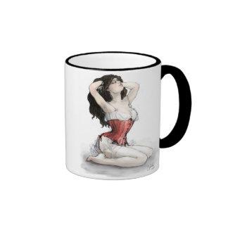 Woman in Red Corset Mugs