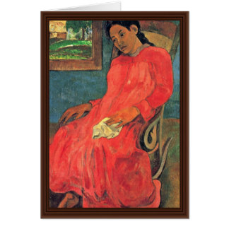 Woman In Red Dress By Paul Gauguin (Best Quality) Card