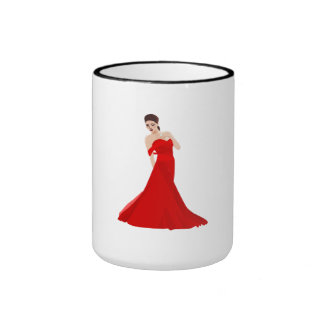 Woman In Red Dress Coffee Mugs